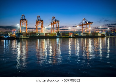 Industrial sea port of Mersin at night. Turkey