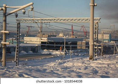 industrial seaport buildings in winter 2