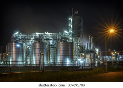 Industrial shiny metal in the dark