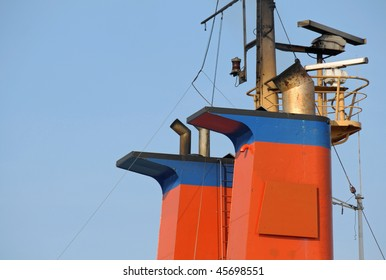 Industrial ship funnels detail