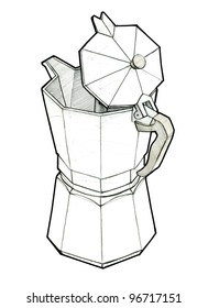 An industrial sketch of italian coffee pot, made in pencil and scanned in very high resolution.