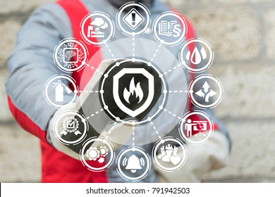 Industrial Smart Automatic Fire Control Extinguisher System. Industry engineer using virtual touchscreen pressing shield fire flame button. Modern Fires Protection Mind Manufacturing Technology.