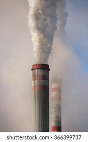 Industrial smoke stack of coal power plant