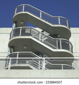 Industrial staircases of a concrete building