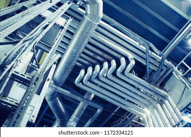 Industrial Steel pipelines, valves, cables