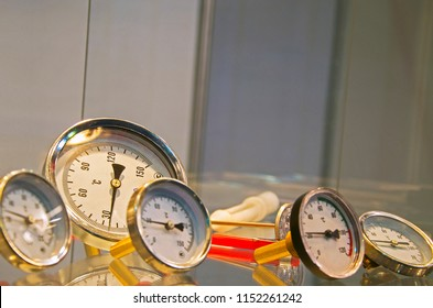 Industrial stem thermometers with Celsius units. Selective focus - Shutterstock ID 1152261242