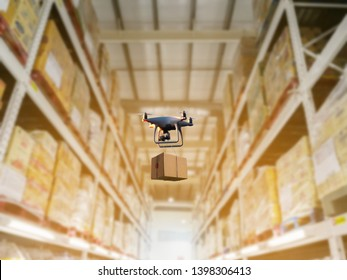 Industrial stock storage products storage system by drone unmanned aircraft