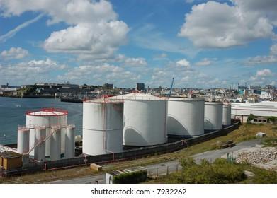 Industrial storage buildings at port
