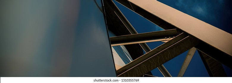 industrial structures against the blue sky. Sunny day. Web banner.