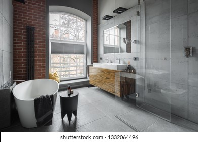Industrial style bathroom with oval bathtub and walk in shower