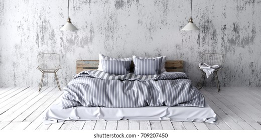 A industrial style bedroom with recycled pallet bed. White eco design scheme is bright and minimalistic. 3D render.