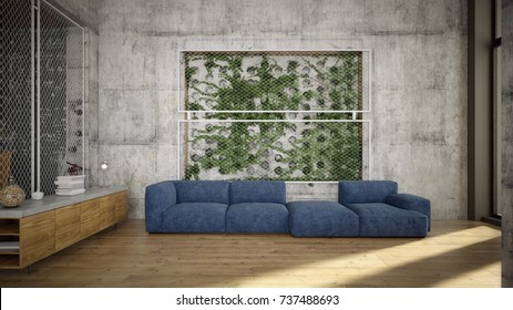 Industrial styled living room with green wall - 3 d render
