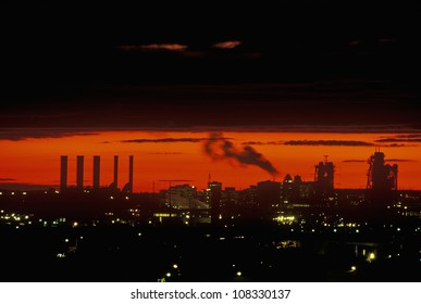 Industrial sunset with smokestacks over Newark, New Jersey