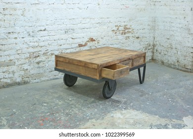 industrial table from carriage