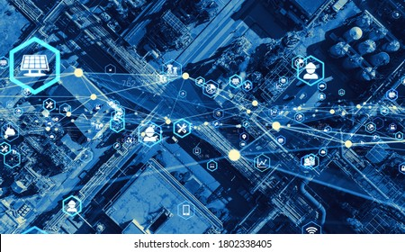 Industrial technology concept. Communication network. Supply chain.
