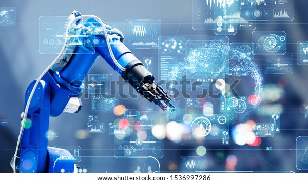 Industrial technology concept. Factory automation. Smart factory. INDUSTRY 4.0