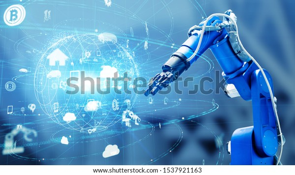 Industrial technology concept. Factory automation. INDUSTRY 4.0