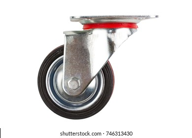 Industrial trolley single Swivel Rubber Caster Wheels with Top Plate not fixed.  The wheel have double red lines. Isolated on white background.