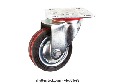 Industrial trolley single Swivel Rubber Caster Wheels with Top Plate not fixed and break .wheel have double red line. Isolated on white background.