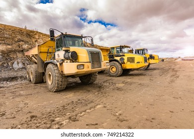 Industrial trucks for stone loading in the construction works of a road