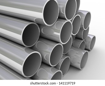 Industrial tubes stacked