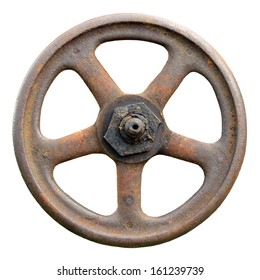 Industrial Valve Wheel And Stem, Weathered Grunge Latch Detailed Macro Closeup Isolated