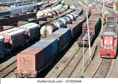 industrial view with lot of freight railway trains waggons