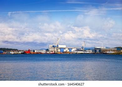 Industrial view - Harbour in Stavanger, Norway.