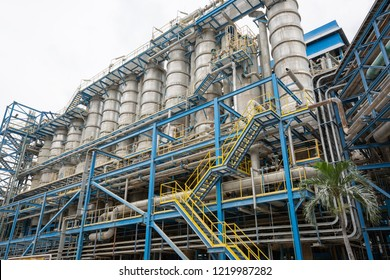 Industrial view at oil refinery plant form industry zone with blue sky