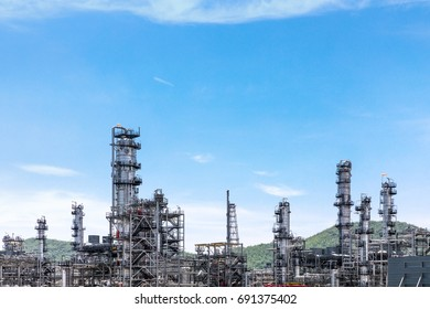Industrial view at oil refinery plant form industry zone with blue sky and sunrise sky background