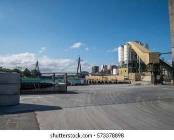 an industrial view of ports looking onto the Anzac bridge