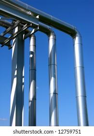 industrial view, steel pipeline on blue sky