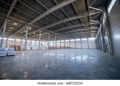 Industrial warehouse with boxes