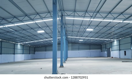 industrial warehouse ceiling light panel blubs concept background.