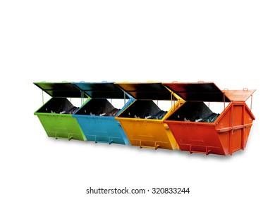 Industrial Waste Bin (dumpster)  isolated on white background,