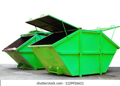 Industrial Waste Bin (dumpster) for municipal waste or industrial waste, isolated on white background