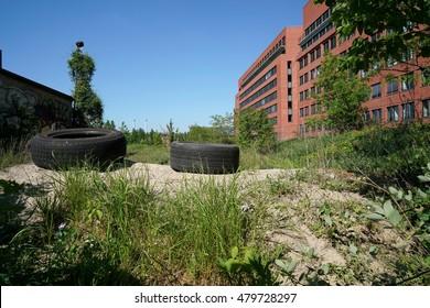 industrial wasteland with garbage in Berlin-Kreuzberg, Germany