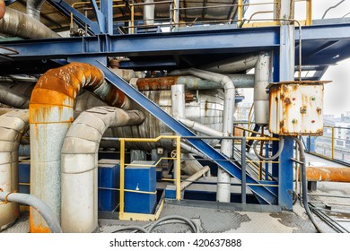 Industrial water cooling evaporator pipeline equipment in the old steel mill