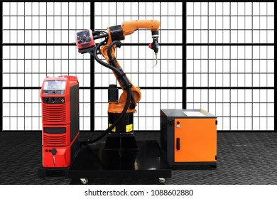 Industrial welding robot in production line of manufacturer factory site