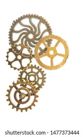 Industrial wheels in copper ans silver isolated over white background