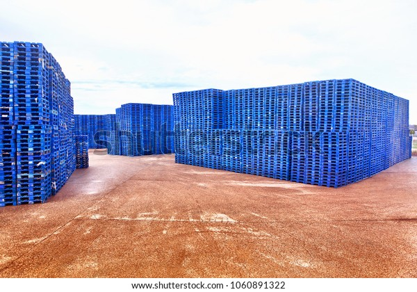 industrial wooden pallets on the storage