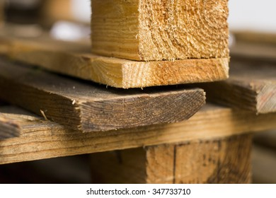 Industrial wooden pallets, wooden planks, close-up.