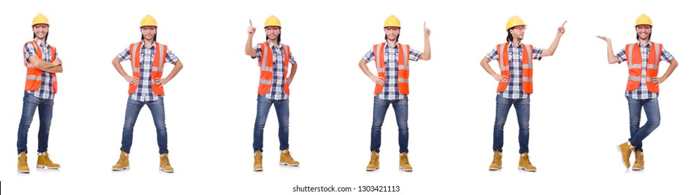 Industrial worker isolated on white