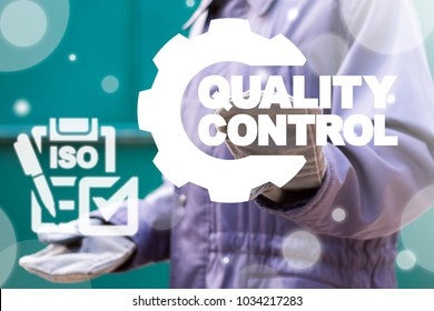 Industrial worker using virtual interface offers checklist ISO icon and presses button quality control gear. Quality Control Industrial Concept. ISO Standardization Manufacturing. Industry Standards.