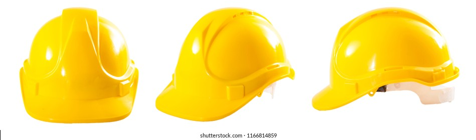 Industrial workers or construction site safety equipment concept with a multiple angle image of a yellow hard hat isolated on white background with a clipping path cutout