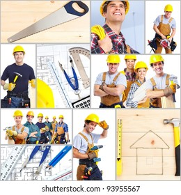 Industrial workers group with yellow helmet. Collage.