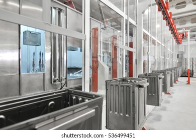 industrial workshop for the assembly of oven on a conveyor belt