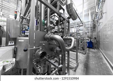 Industrial zone background concept. Steel pipelines and cables in manufacture production