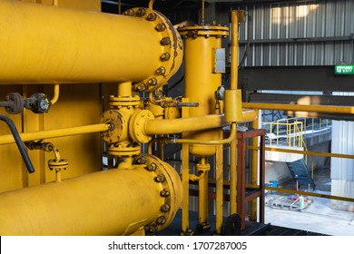 Industrial zone, Oil steel pipelines of Turbine  in coal power plant  factory manufacturing.