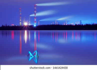 Industrial zone. Power plant at night